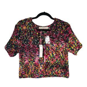 CLUNY MultiColor Knit Weave Short Sleeve, Button D